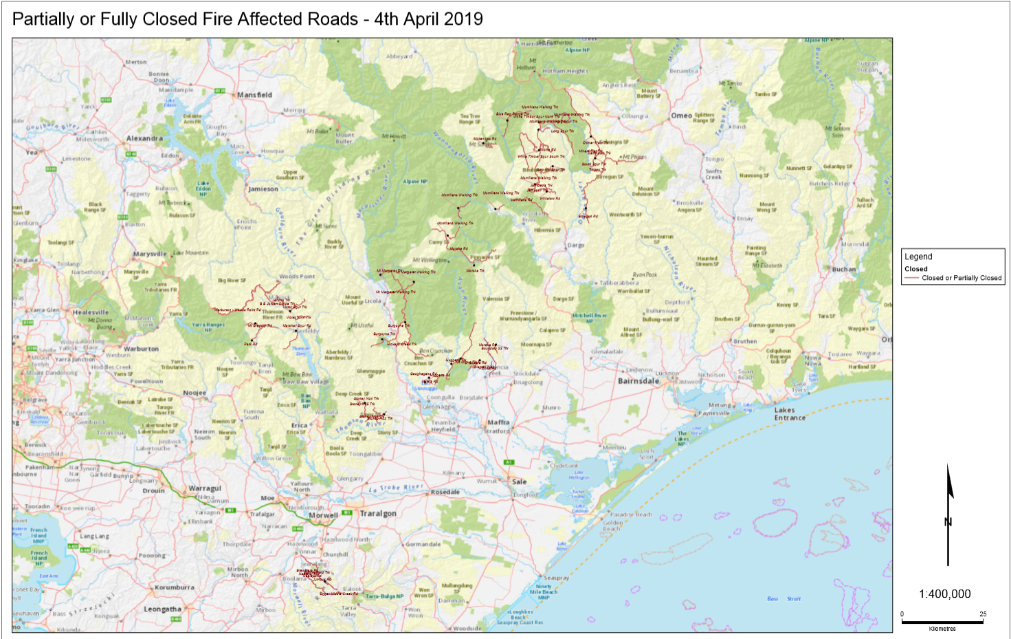 Four Wheel Drive Victoria - Map of Road Closures in Gippsland